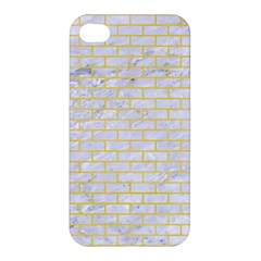 Brick1 White Marble & Yellow Watercolor (r) Apple Iphone 4/4s Hardshell Case by trendistuff