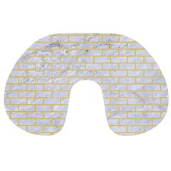 Brick1 White Marble & Yellow Watercolor (r) Travel Neck Pillows by trendistuff