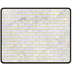 Brick1 White Marble & Yellow Watercolor (r) Double Sided Fleece Blanket (medium)  by trendistuff