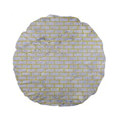 Brick1 White Marble & Yellow Watercolor (r) Standard 15  Premium Flano Round Cushions by trendistuff