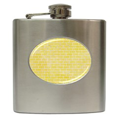 Brick1 White Marble & Yellow Watercolor Hip Flask (6 Oz) by trendistuff