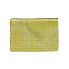 Brick1 White Marble & Yellow Watercolor Cosmetic Bag (medium)  by trendistuff
