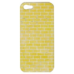Brick1 White Marble & Yellow Watercolor Apple Iphone 5 Hardshell Case by trendistuff
