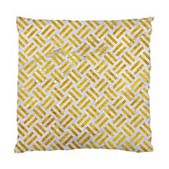 Woven2 White Marble & Yellow Marble (r) Standard Cushion Case (one Side) by trendistuff