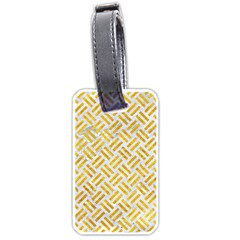 Woven2 White Marble & Yellow Marble (r) Luggage Tags (two Sides) by trendistuff
