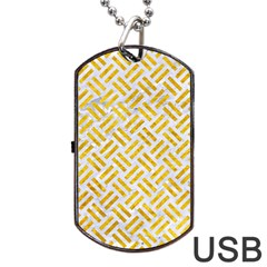 Woven2 White Marble & Yellow Marble (r) Dog Tag Usb Flash (one Side) by trendistuff