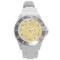 Woven2 White Marble & Yellow Marble (r) Round Plastic Sport Watch (l) by trendistuff