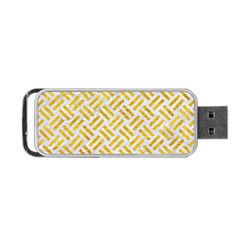 Woven2 White Marble & Yellow Marble (r) Portable Usb Flash (two Sides) by trendistuff