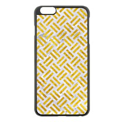 Woven2 White Marble & Yellow Marble (r) Apple Iphone 6 Plus/6s Plus Black Enamel Case by trendistuff