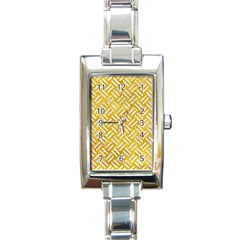 Woven2 White Marble & Yellow Marble Rectangle Italian Charm Watch by trendistuff