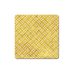 Woven2 White Marble & Yellow Marble Square Magnet by trendistuff