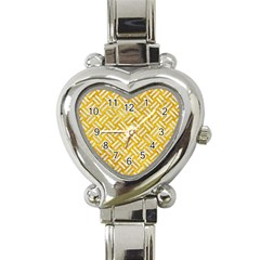 Woven2 White Marble & Yellow Marble Heart Italian Charm Watch by trendistuff