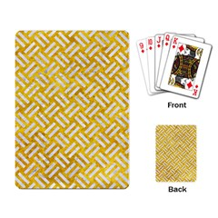 Woven2 White Marble & Yellow Marble Playing Card by trendistuff