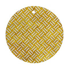 Woven2 White Marble & Yellow Marble Round Ornament (two Sides) by trendistuff