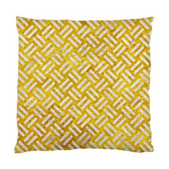Woven2 White Marble & Yellow Marble Standard Cushion Case (one Side) by trendistuff