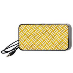 Woven2 White Marble & Yellow Marble Portable Speaker by trendistuff