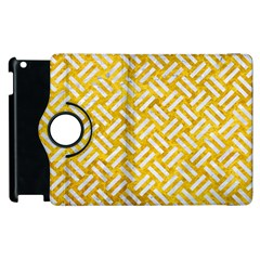 Woven2 White Marble & Yellow Marble Apple Ipad 2 Flip 360 Case by trendistuff