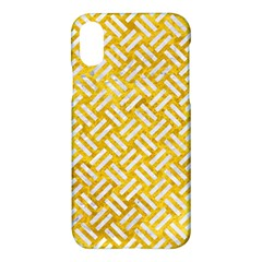 Woven2 White Marble & Yellow Marble Apple Iphone X Hardshell Case by trendistuff