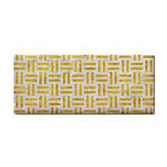 Woven1 White Marble & Yellow Marble (r) Cosmetic Storage Cases by trendistuff