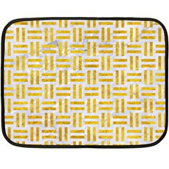 Woven1 White Marble & Yellow Marble (r) Double Sided Fleece Blanket (mini)  by trendistuff