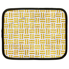 Woven1 White Marble & Yellow Marble (r) Netbook Case (xl)  by trendistuff