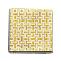 Woven1 White Marble & Yellow Marble (r) Memory Card Reader (square) by trendistuff