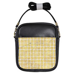 Woven1 White Marble & Yellow Marble (r) Girls Sling Bags by trendistuff
