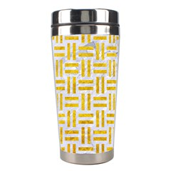 Woven1 White Marble & Yellow Marble (r) Stainless Steel Travel Tumblers by trendistuff