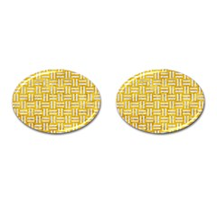 Woven1 White Marble & Yellow Marble Cufflinks (oval) by trendistuff