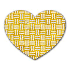 Woven1 White Marble & Yellow Marble Heart Mousepads
