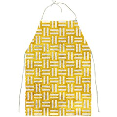 Woven1 White Marble & Yellow Marble Full Print Aprons by trendistuff
