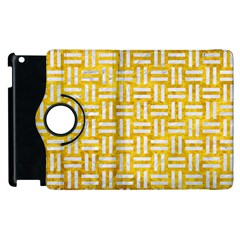 Woven1 White Marble & Yellow Marble Apple Ipad 2 Flip 360 Case by trendistuff