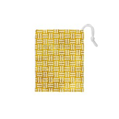 Woven1 White Marble & Yellow Marble Drawstring Pouches (xs)  by trendistuff
