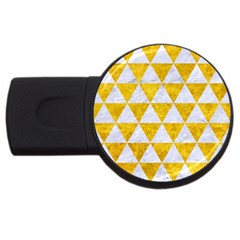 Triangle3 White Marble & Yellow Marble Usb Flash Drive Round (2 Gb) by trendistuff