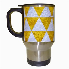 Triangle3 White Marble & Yellow Marble Travel Mugs (white) by trendistuff