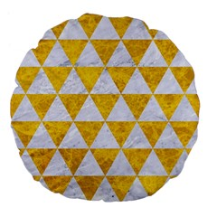 Triangle3 White Marble & Yellow Marble Large 18  Premium Flano Round Cushions by trendistuff