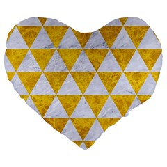 Triangle3 White Marble & Yellow Marble Large 19  Premium Flano Heart Shape Cushions by trendistuff