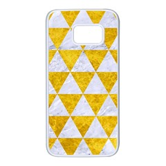 Triangle3 White Marble & Yellow Marble Samsung Galaxy S7 White Seamless Case