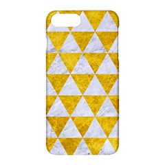 Triangle3 White Marble & Yellow Marble Apple Iphone 8 Plus Hardshell Case by trendistuff