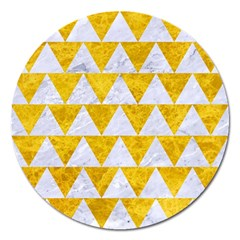 Triangle2 White Marble & Yellow Marble Magnet 5  (round) by trendistuff