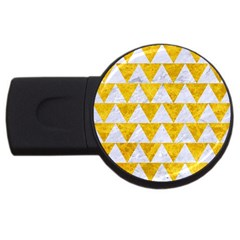 Triangle2 White Marble & Yellow Marble Usb Flash Drive Round (4 Gb) by trendistuff