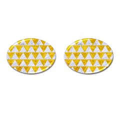 Triangle2 White Marble & Yellow Marble Cufflinks (oval) by trendistuff