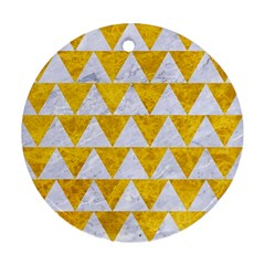 Triangle2 White Marble & Yellow Marble Round Ornament (two Sides) by trendistuff