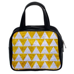 Triangle2 White Marble & Yellow Marble Classic Handbags (2 Sides) by trendistuff