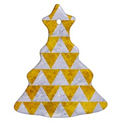 Triangle2 White Marble & Yellow Marble Christmas Tree Ornament (two Sides)