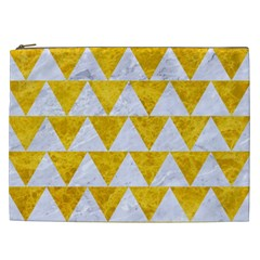Triangle2 White Marble & Yellow Marble Cosmetic Bag (xxl)  by trendistuff