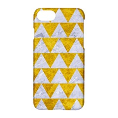 Triangle2 White Marble & Yellow Marble Apple Iphone 7 Hardshell Case by trendistuff