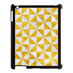 Triangle1 White Marble & Yellow Marble Apple Ipad 3/4 Case (black) by trendistuff