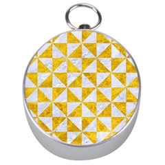 Triangle1 White Marble & Yellow Marble Silver Compasses by trendistuff