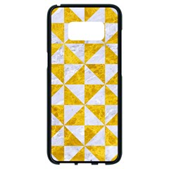 Triangle1 White Marble & Yellow Marble Samsung Galaxy S8 Black Seamless Case by trendistuff